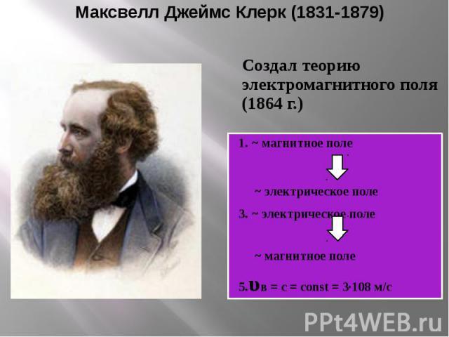 Максвелл Джеймс Клерк (1831-1879) Создал теорию электромагнитного поля (1864 г.)