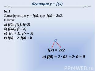 Функция y = f(x) № 1Дана функция y = f(x), где f(x) = 2x2. Найти:а) f(0), f(1),