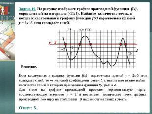Задача 16. На рисунке изображен график производной функции f(x), определенной на