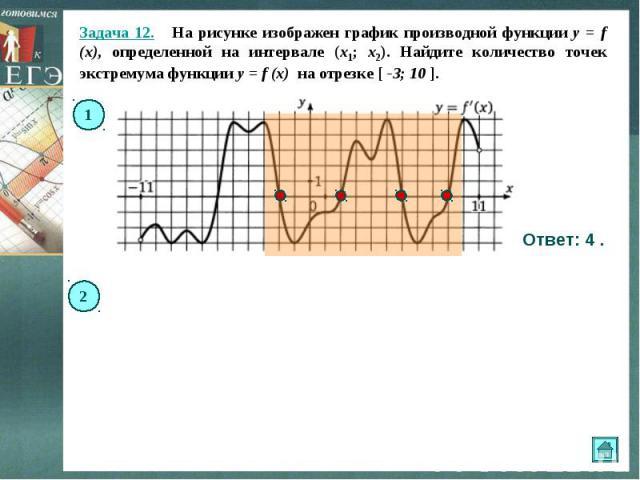Задача 12. На рисунке изображен график производной функции y = f (x), определенной на интервале (x1; x2). Найдите количество точек экстремума функции y = f (x) на отрезке [ -3; 10 ]. Ответ: 4 .