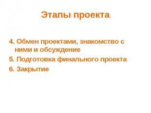 Этапы проекта 4. Обмен проектами, знакомство с ними и обсуждение5. Подготовка фи