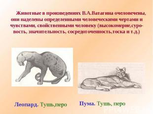 Животные в произведениях В.А.Ватагина очеловечены,они наделены определенными чел