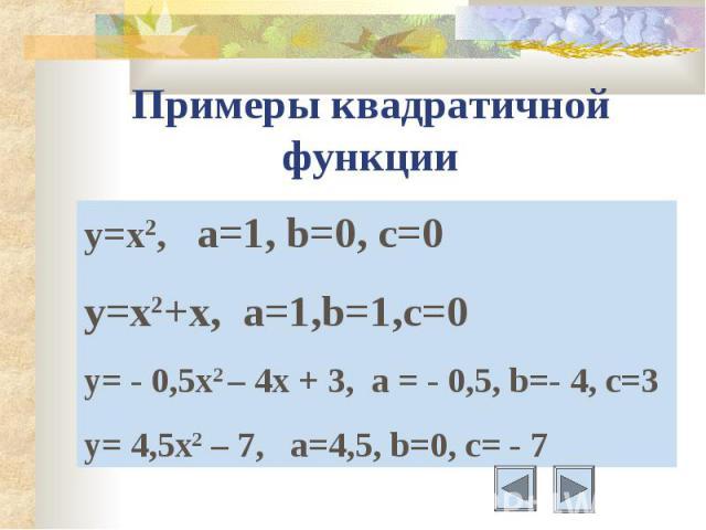 Примеры квадратичной функции y=x2, а=1, b=0, c=0y=x2+x, a=1,b=1,c=0y= - 0,5x2 – 4x + 3, a = - 0,5, b=- 4, c=3y= 4,5x2 – 7, a=4,5, b=0, c= - 7
