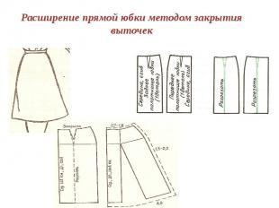 Расширение прямой юбки методом закрытия выточек