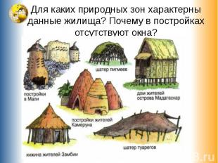 Для каких природных зон характерны данные жилища? Почему в постройках отсутствую