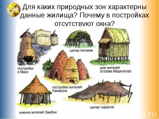 Для каких природных зон характерны данные жилища? Почему в постройках отсутствуют окна?