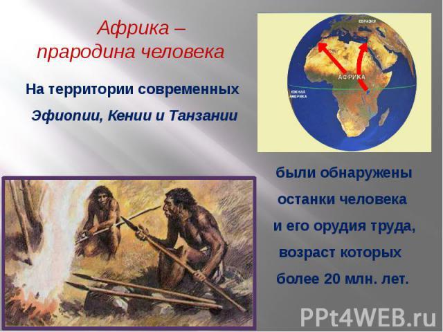 Африка – прародина человека На территории современных Эфиопии, Кении и Танзаниибыли обнаружены останки человека и его орудия труда, возраст которых более 20 млн. лет.