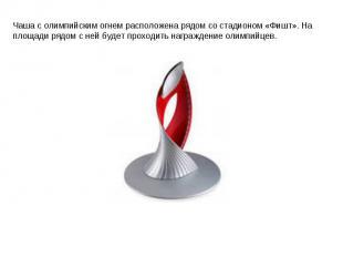 Чаша с олимпийским огнем расположена рядом со стадионом «Фишт». На площади рядом