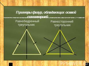 Примеры фигур, обладающих осевой симметрией Равнобедренный треугольникРавносторо