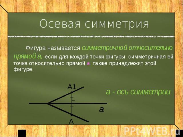 Осевая симметрия Фигура называется симметричной относительно прямой а, если для каждой точки фигуры, симметричная ей точка относительно прямой а также принадлежит этой фигуре. а - ось симметрии