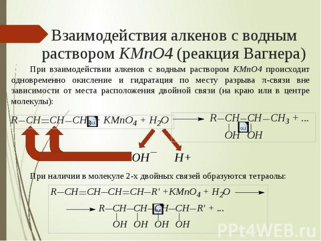 Взаимодействия алкенов с водным раствором KMnO4 (реакция Вагнера) При взаимодействии алкенов с водным раствором KMnO4 происходит одновременно окисление и гидратация по месту разрыва π-связи вне зависимости от места расположения двойной связи (на кра…