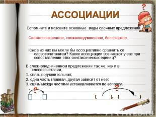 АССОЦИАЦИИ Вспомните и назовите основные виды сложных предложений. Сложносочинен