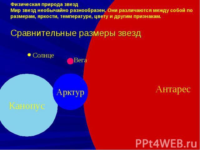 Физическая природа звездМир звезд необычайно разнообразен. Они различаются между собой по размерам, яркости, температуре, цвету и другим признакам.Сравнительные размеры звезд