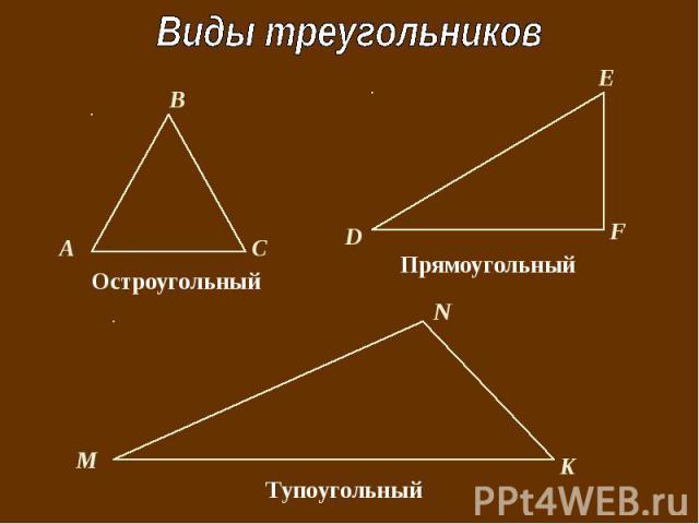 Виды треугольников ОстроугольныйПрямоугольныйПрямоугольный