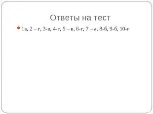 Ответы на тест 1а, 2 – г, 3-в, 4-г, 5 – в, 6-г, 7 – а, 8-б, 9-б, 10-г