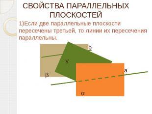 СВОЙСТВА ПАРАЛЛЕЛЬНЫХ ПЛОСКОСТЕЙ 1)Если две параллельные плоскости пересечены тр