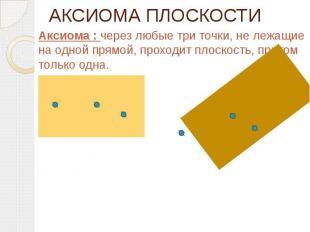 АКСИОМА ПЛОСКОСТИ Аксиома : через любые три точки, не лежащие на одной прямой, п