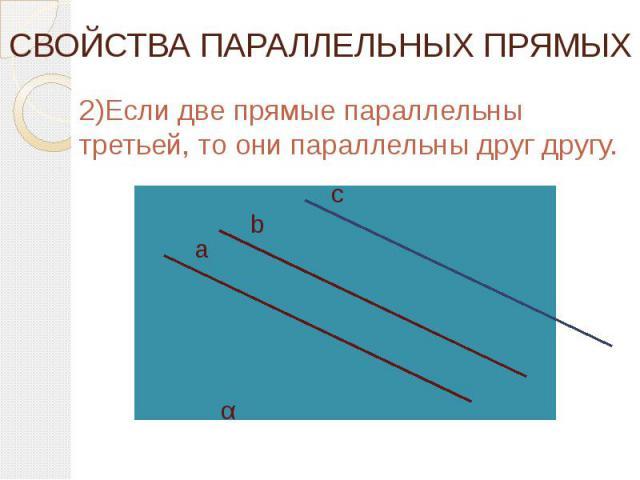 СВОЙСТВА ПАРАЛЛЕЛЬНЫХ ПРЯМЫХ 2)Если две прямые параллельны третьей, то они параллельны друг другу.