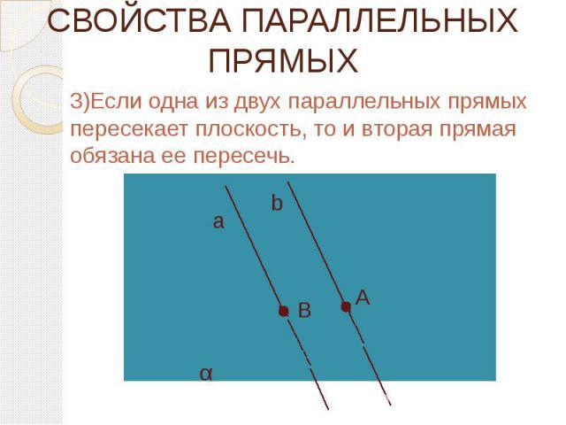 СВОЙСТВА ПАРАЛЛЕЛЬНЫХ ПРЯМЫХ 3)Если одна из двух параллельных прямых пересекает плоскость, то и вторая прямая обязана ее пересечь.