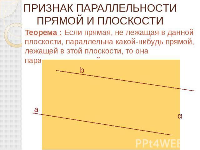 ПРИЗНАК ПАРАЛЛЕЛЬНОСТИ ПРЯМОЙ И ПЛОСКОСТИ Теорема : Если прямая, не лежащая в данной плоскости, параллельна какой-нибудь прямой, лежащей в этой плоскости, то она параллельна данной плоскости.
