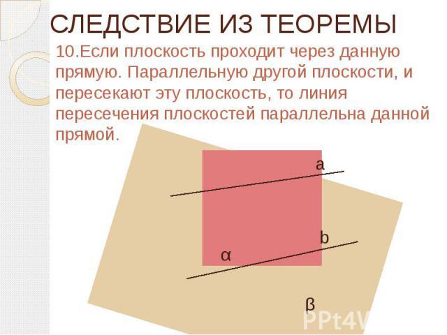 СЛЕДСТВИЕ ИЗ ТЕОРЕМЫ 10.Если плоскость проходит через данную прямую. Параллельную другой плоскости, и пересекают эту плоскость, то линия пересечения плоскостей параллельна данной прямой.