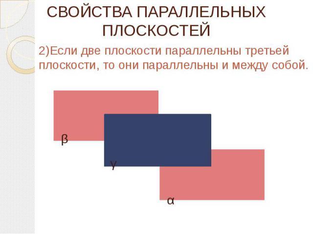 СВОЙСТВА ПАРАЛЛЕЛЬНЫХ ПЛОСКОСТЕЙ 2)Если две плоскости параллельны третьей плоскости, то они параллельны и между собой.