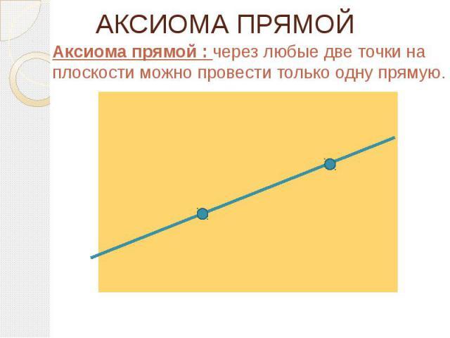 АКСИОМА ПРЯМОЙ Аксиома прямой : через любые две точки на плоскости можно провести только одну прямую.