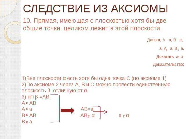 СЛЕДСТВИЕ ИЗ АКСИОМЫ 10. Прямая, имеющая с плоскостью хотя бы две общие точки, целиком лежит в этой плоскости. Дано:α, А α, В α, а, А а, В а.Доказать: а α Доказательство:1)Вне плоскости α есть хотя бы одна точка С (по аксиоме 1)2)По аксиоме 2 через …