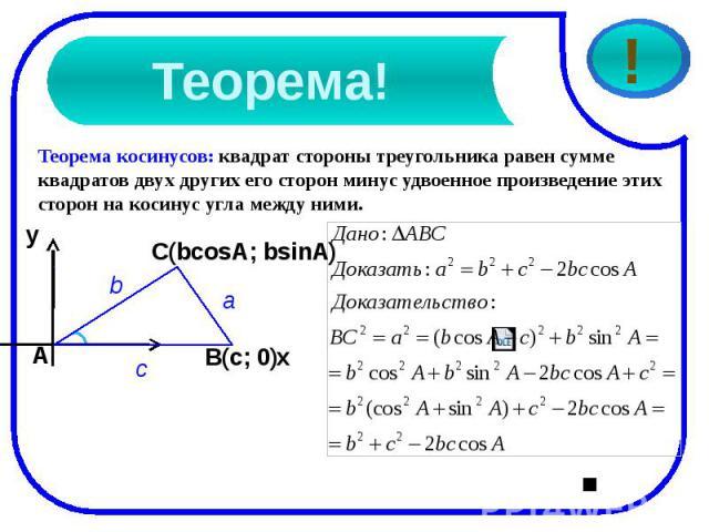 Теорема!Теорема косинусов: квадрат стороны треугольника равен сумме квадратов двух других его сторон минус удвоенное произведение этих сторон на косинус угла между ними.