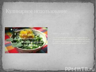Кулинарное использование Салаты из одуванчиковДля получения одной порции 100 г с