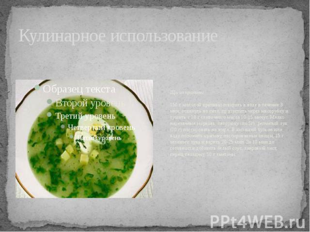 Кулинарное использование Щи из крапивы150 г молодой крапивы отварить в воде в течение 3 мин, откинуть на сито, пропустить через мясорубку и тушить с 10 г сливочного масла 10-15 минут. Мелко нарезанные морковь, петрушку (по 5г), репчатый лук (20 г) п…