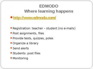 EDMODOWhere learning happens http://www.edmodo.com/Registration: teacher – stude