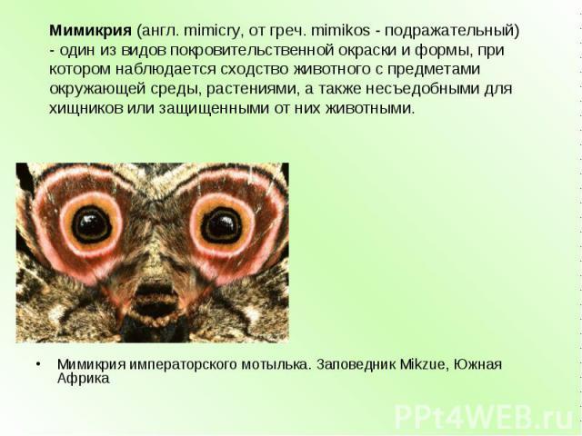 Мимикрия(англ. mimicry, от греч. mimikos - подражательный) - один из видов покровительственной окраски и формы, при котором наблюдается сходство животного с предметами окружающей среды, растениями, а также несъедобными для хищников или защищенными …