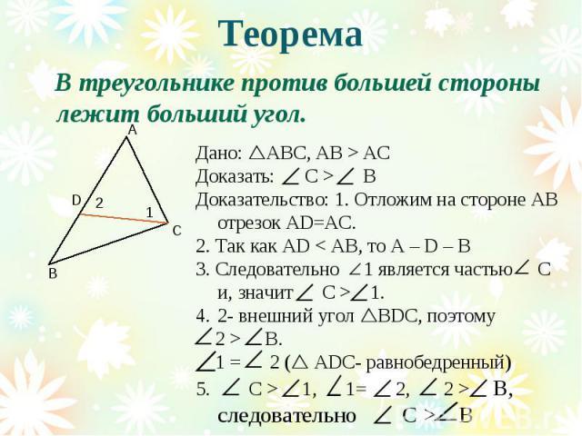 Теорема В треугольнике против большей стороны лежит больший угол.Дано: АВС, АВ > АСДоказать: С > ВДоказательство: 1. Отложим на стороне АВ отрезок АD=АС.2. Так как АD < АВ, то А – D – В3. Следовательно 1 является частью С и, значит С > 1.2- внешний …