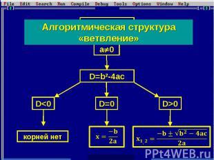 Алгоритмическая структура «ветвление»