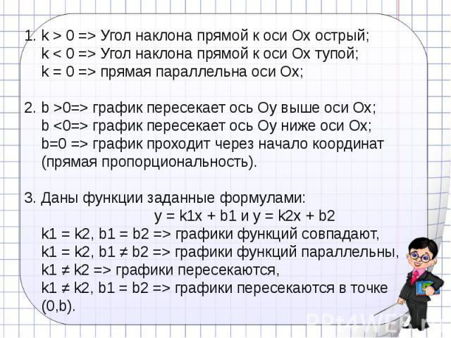 k > 0 => Угол наклона прямой к оси Ох острый;k < 0 => Угол наклона прямой к оси Ох тупой;k = 0 => прямая параллельна оси Ох;b >0=> график пересекает ось Оу выше оси Ох;b график пересекает ось Оу ниже оси Ох;b=0 => график проходит через начало коорд…