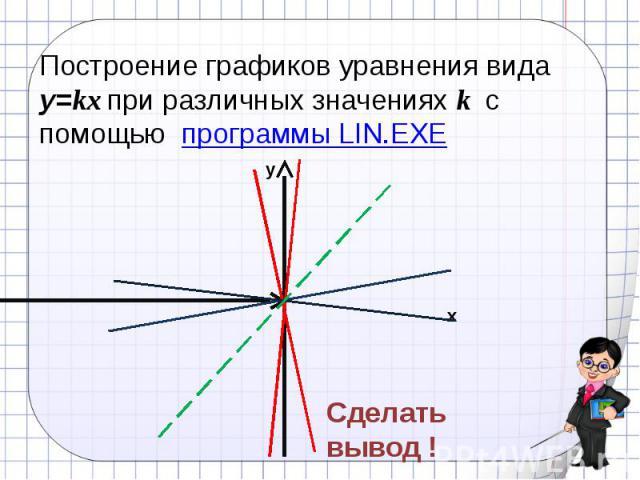 Построение графиков уравнения вида у=kх при различных значениях k с помощью программы LIN.EXE Сделать вывод !