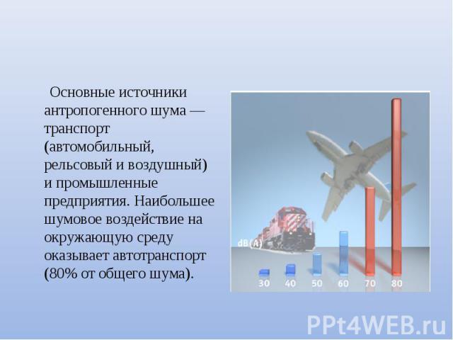 Основные источники антропогенного шума — транспорт (автомобильный, рельсовый и воздушный) и промышленные предприятия. Наибольшее шумовое воздействие на окружающую среду оказывает автотранспорт (80% от общего шума).