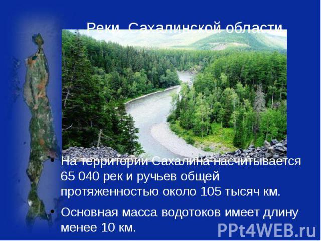 Реки Сахалинской области На территории Сахалина насчитывается 65 040 рек и ручьев общей протяженностью около 105 тысяч км. Основная масса водотоков имеет длину менее 10 км.