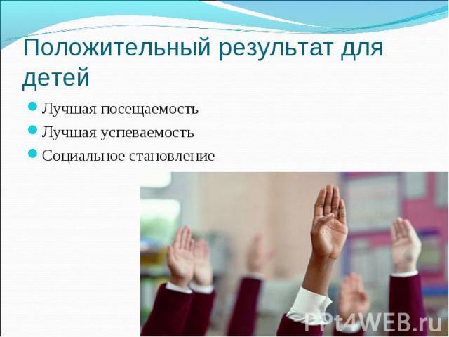 Положительный результат для детей Лучшая посещаемость Лучшая успеваемость Социальное становление
