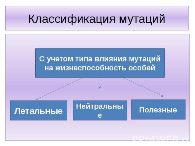 Классификация мутаций С учетом типа влияния мутаций на жизнеспособность особейЛетальныеНейтральныеПолезные
