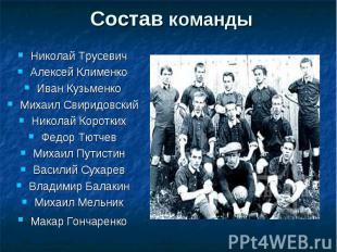 Состав команды Николай Трусевич Алексей Клименко Иван Кузьменко Михаил Свиридовс