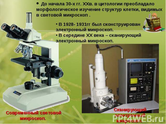 До начала 30-х гг. ХХв. в цитологии преобладало морфологическое изучение структур клетки, видимых в световой микроскоп . В 1928- 1931гг был сконструирован электронный микроскоп. В середине ХХ века – сканирующий электронный микроскоп.Современный свет…