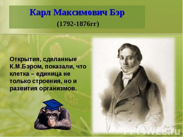 Карл Максимович Бэр (1792-1876гг)Открытия, сделанные К.М.Бэром, показали, что клетка – единица не только строения, но и развития организмов.