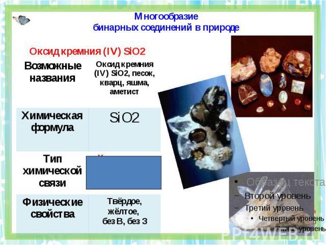 Многообразиебинарных соединений в природе Оксид кремния (IV) SiO2
