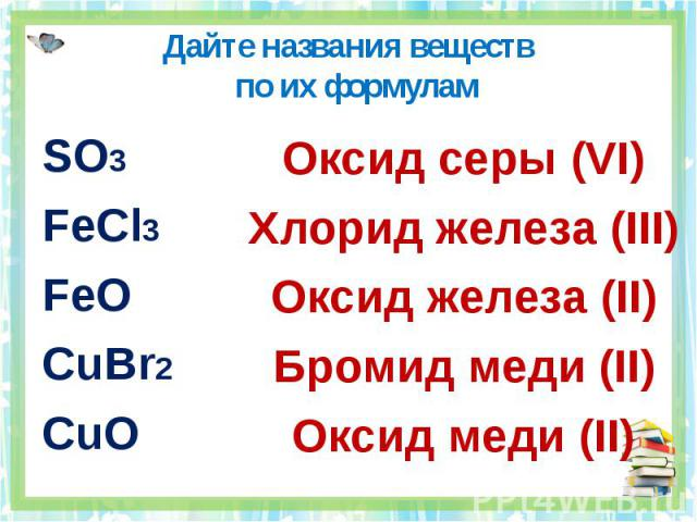 Дайте названия веществ по их формулам SO3FeCl3FeOCuBr2CuOОксид серы (VI)Хлорид железа (III)Оксид железа (II)Бромид меди (II)Оксид меди (II)