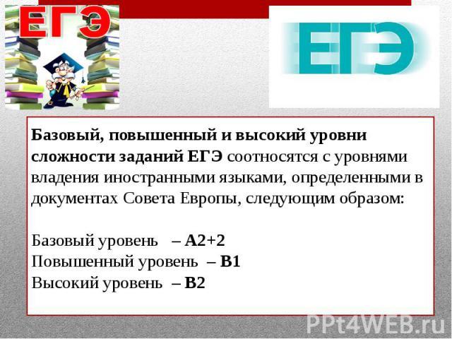 Базовый, повышенный и высокий уровни сложности заданий ЕГЭ соотносятся с уровнями владения иностранными языками, определенными в документах Совета Европы, следующим образом: Базовый уровень – A2+2 Повышенный уровень – В1 Высокий уровень – В2