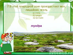 7.В этой природной зоне произрастают мох, лишайник, ягель а) степь б) тундра в)