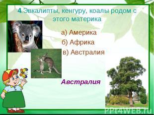 4.Эвкалипты, кенгуру, коалы родом с этого материка а) Америка б) Африка в) Австр