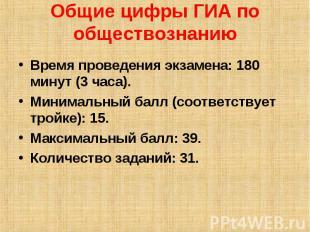 Общие цифры ГИА по обществознанию Время проведения экзамена: 180 минут (3 часа).